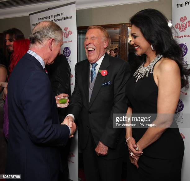 Prince Charles meeting Bruce Forsyth and wife Wilnelia at the 2010 Pride of Britain Awards at the Grosvenor House Hotel London