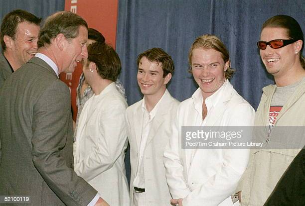 Prince Charles Meeting The Pop Band Boyzone After Their Performance At The Hyde Park Concert Party In The Park In Aid Of The Prince's Trust Charity...