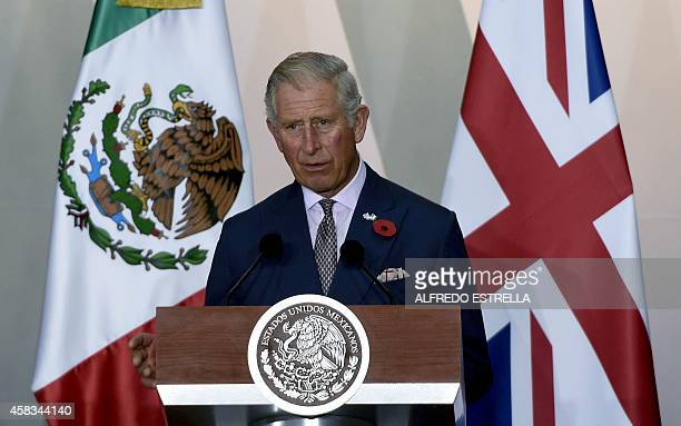 Prince Charles of Wales delivers a speech at the National Palace during a meeting with Mexican President Enrique Pena Nieto in Mexico City on...