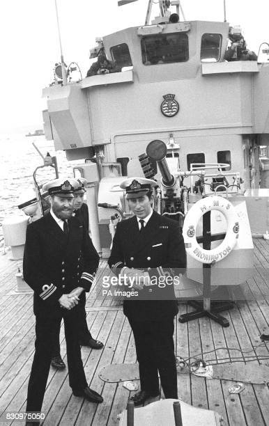 Prince Charles on board the 360ton minehunter HMS Bronington at Rosyth dockyard when he took over command from Lieutenant Commander Harry Bates *...