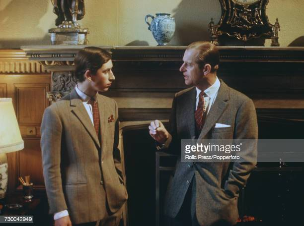 Prince Charles pictured talking with his father Prince Philip Duke of Edinburgh at Sandringham House in Norfolk during filming of the television...