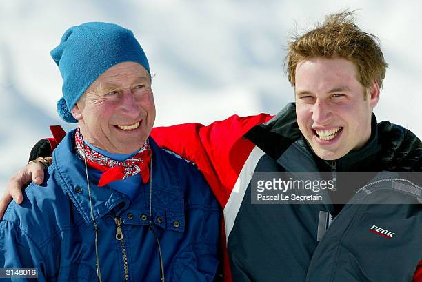 Prince Charles poses with son Prince William in the Swiss village of Klosters at the start of their annual skiing holiday in the Swiss Alps on March...