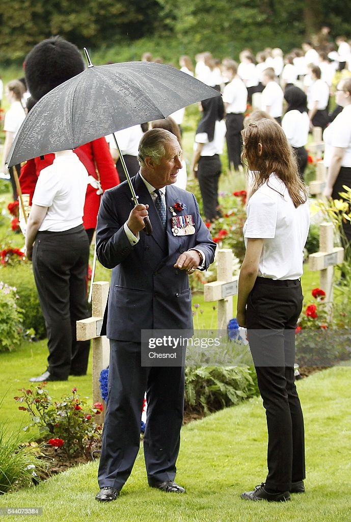 Prince Charles, Prince attends the 100th anniversary of the beginning of the Battle of the Somme at the Thiepval memorial to the Missing on July 1, 2016 in Thiepval, France. The event is part of the Commemoration of the Centenary of the Battle of the Somme at the Commonwealth War Graves Commission Thiepval Memorial in Thiepval, France, where 70,000 British and Commonwealth soldiers with no known grave are commemorated.