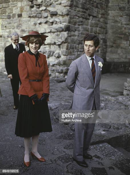Prince Charles Prince Charles and the Princess of Wales at Caernarvon Castle during an official tour of Wales 27th October 1981