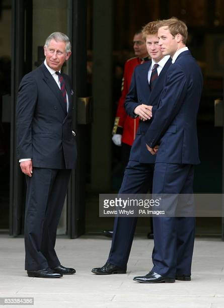 Prince Charles Prince Harry and Prince William greet guests for the Service of Thanksgiving for the life of Diana Princess of Wales at the Guards'...