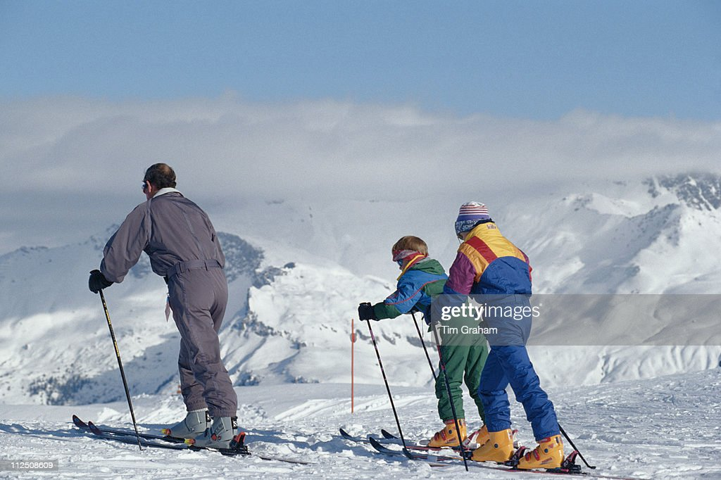 Prince Charles Prince Harry and Prince William take to the slopes during a skiing holiday in Klosters Swittzerland 18 February 1994