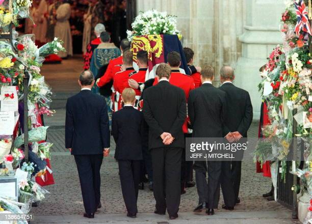 Prince Charles Prince Harry Earl Spencer Prince William and the Duke of Edinburgh follow the coffin of Diana Princess of Wales as it is being carried...