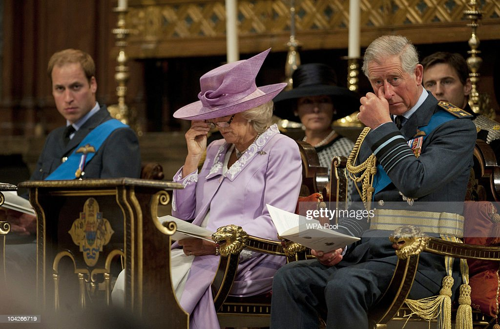 <a gi-track='captionPersonalityLinkClicked' href=/galleries/search?phrase=Prince+Charles&family=editorial&specificpeople=160180 ng-click='$event.stopPropagation()'>Prince Charles</a>, Prince of Wales, accompanied by <a gi-track='captionPersonalityLinkClicked' href=/galleries/search?phrase=Camilla+-+Duchess+of+Cornwall&family=editorial&specificpeople=158157 ng-click='$event.stopPropagation()'>Camilla</a>, Duchess of Cornwall and <a gi-track='captionPersonalityLinkClicked' href=/galleries/search?phrase=Prince+William&family=editorial&specificpeople=178205 ng-click='$event.stopPropagation()'>Prince William</a> (L) attends the National Commemorative Service for the 70th Anniversary of the Battle of Britain at Westminster Abbey on September 19, 2010 in London, England. The battle took place in 1940 when the RAF defended the country against Germany's attempt at air superiority. Veterans of the battle also attended the service to commemorate the occasion.