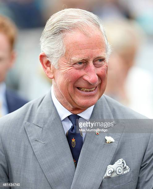 Prince Charles Prince of Wales accompanied by Camilla Duchess of Cornwall visits Padstow on day 1 of their annual summer tour of Cornwall on July 20...