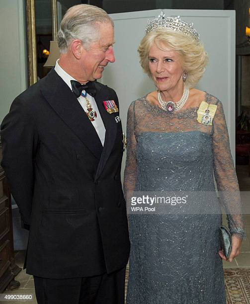 Prince Charles Prince of Wales accompanied by Camilla Duchess of Cornwall attend the CHOGM Banquet in Malta on November 27 2015 near Attard Malta...