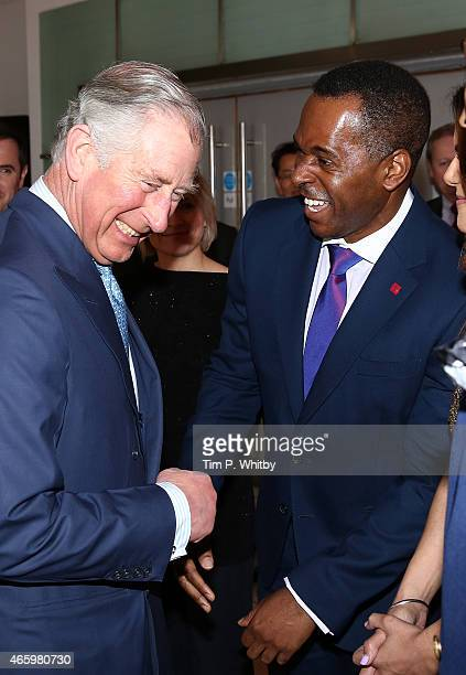 Prince Charles Prince of Wales and Andi Peters share a joke as they attend The Prince's Trust Celebrate Success Awards at Odeon Leicester Square on...