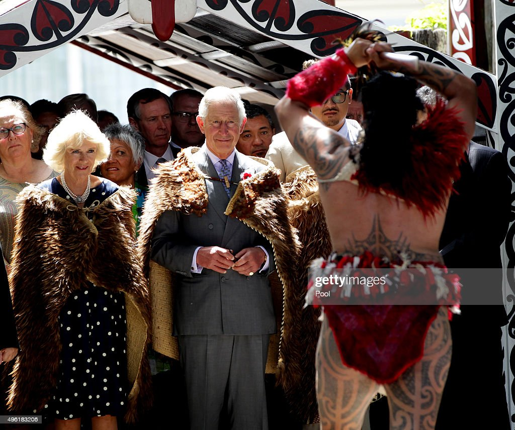 Prince Charles, Prince of Wales and Camilla, Duchess of Cornwall receive a 'Powhiri' maori challege on their arrival at Turangawaewae Marae on November 8, 2015 in Ngaruawahia, New Zealand. The Royal couple are on a 12-day tour visiting seven regions in New Zealand and three states and one territory in Australia.
