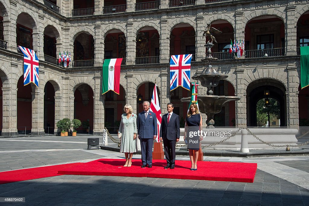 Prince Charles, Prince of Wales and Camilla, Duchess of Cornwall receive an official welcome from President Enrique Pena Nieto and the First Lady Anjelica Rivera at the Palacio National on November 3, 2014 in Mexico City, Mexico. The Royal Couple are on the second day of a four day visit to Mexico as part of a Royal tour to Colombia and Mexico.
