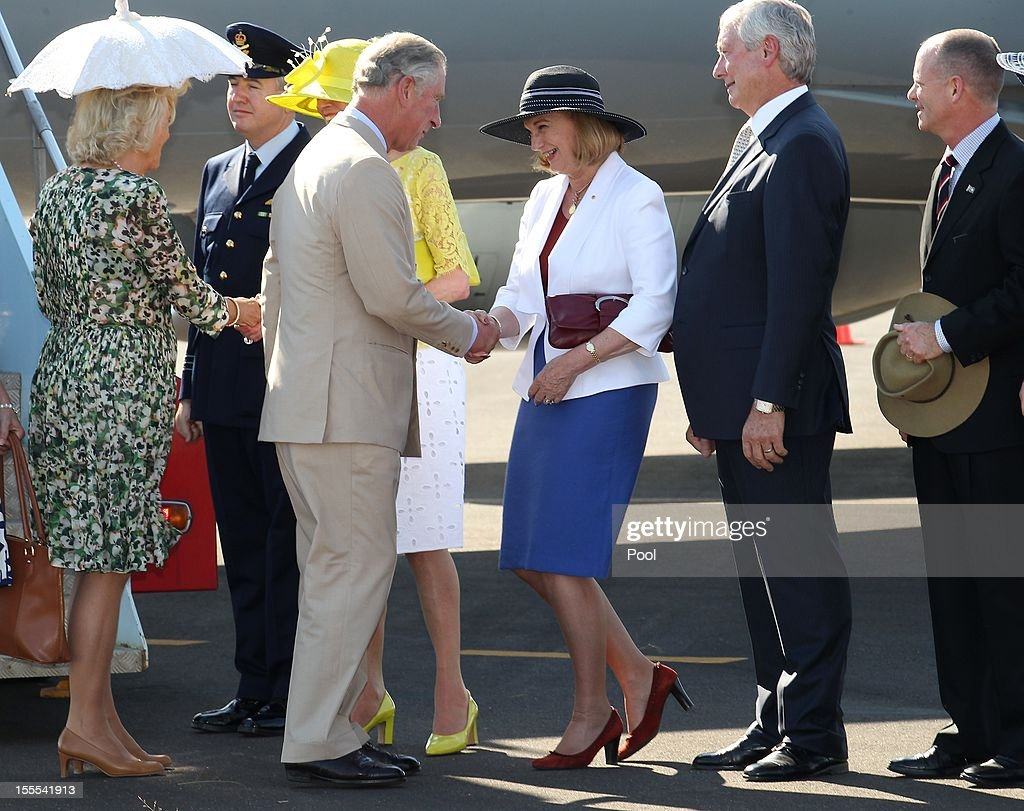 Prince Charles, Prince of Wales (4th L) and Camilla, Duchess of Cornwall (L) are welcomed by Governor-General Quentin Bryce (3rd L) and Queensland Governor Penelope Wensley (C) after their arrival at Longreach Airport on November 05, 2012 in Longreach, Australia. The Royal couple are in Australia on the second leg of a Diamond Jubilee Tour taking in Papua New Guinea, Australia and New Zealand.