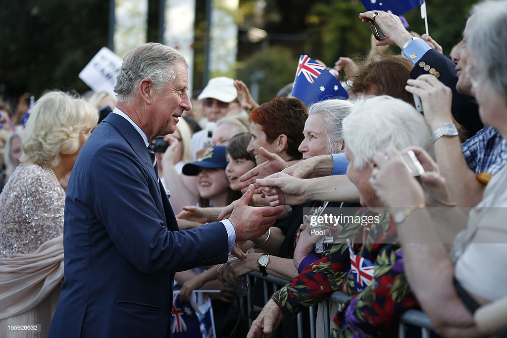 Prince Charles, Prince of Wales and Camilla, Duchess of Cornwall are met by well wishers outside the Sydney Opera House on November 9, 2012, in Sydney, Australia. Prince Charles, Prince of Wales and Camilla, Duchess of Cornwall are touring Australia for six days to commemorate the diamond jubilee of his mother Queen Elizabeth's II.