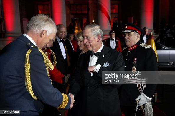 Prince Charles Prince of Wales and Camilla Duchess of Cornwall are greeted by Air Chief Marshal Stephen Dalton as they arrive at the Sun Military...