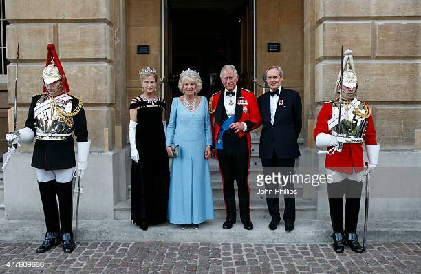 Prince Charles Prince of Wales and Camilla Duchess Of Cornwall are greeted by The Duke and Duchess of Wellington ahead of The Duke of Wellington's...
