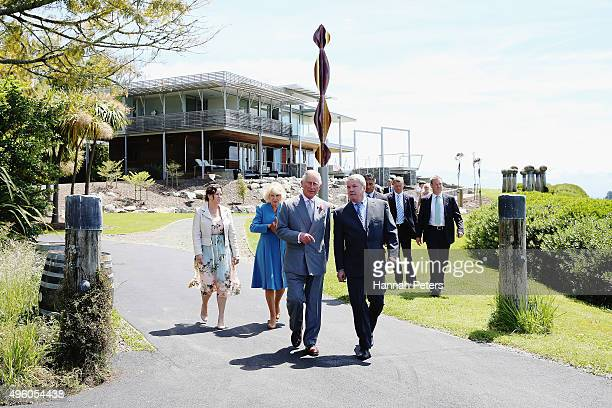 Prince Charles Prince of Wales and Camilla Duchess of Cornwall are shown around Mahana Winery with owners Glenn Schaeffer and Chandler Parker on...