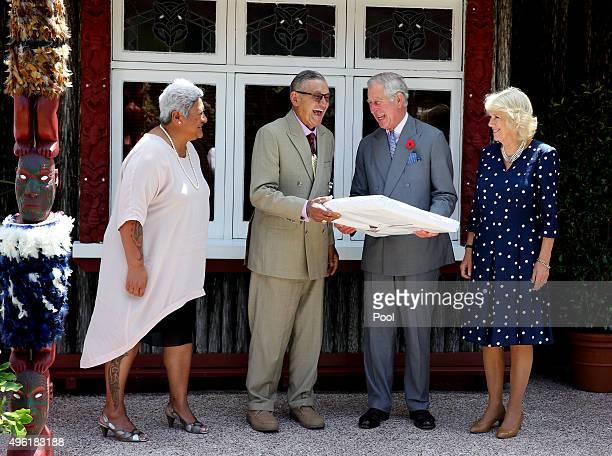 Prince Charles Prince of Wales and Camilla Duchess of Cornwall are photographed with the maori king Kiingi Tuheitia and his wife Atawhai at...
