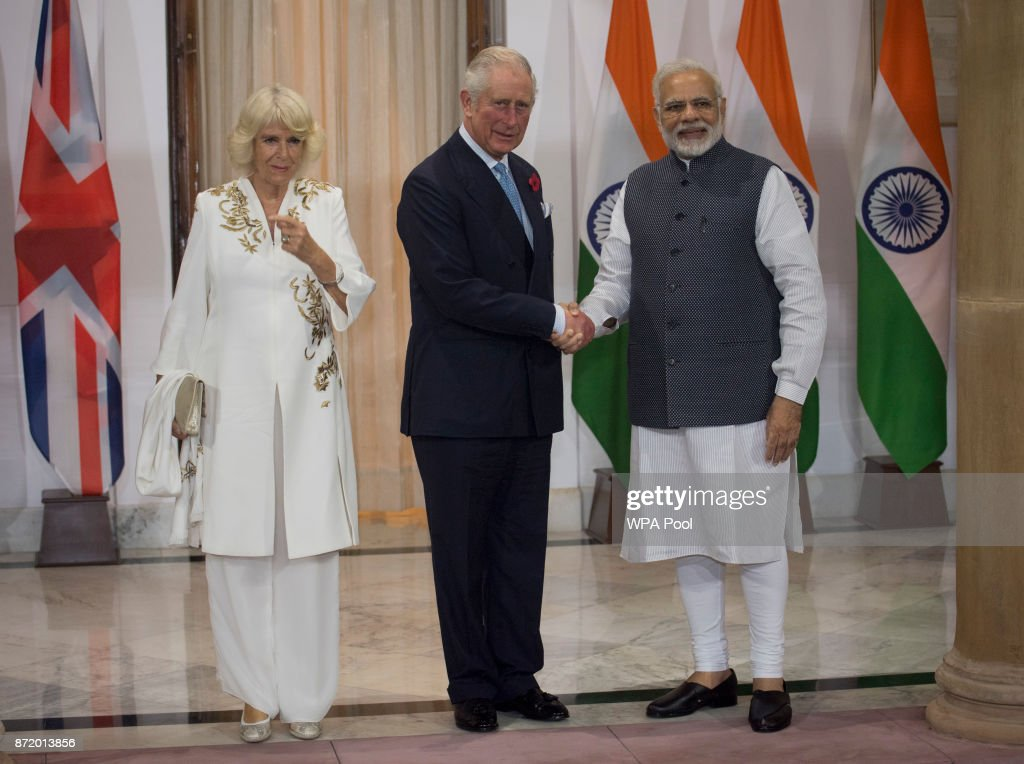 Prince Charles, Prince of Wales and Camilla, Duchess of Cornwall are greeted by Mr Narendra Modi, Prime Minister of India at Hyderabad House during a visit to India on November 9, 2017 in New Delhi, India. The Prince of Wales and Duchess of Cornwall are on a tour of Singapore, Malaysia, Brunei and India.