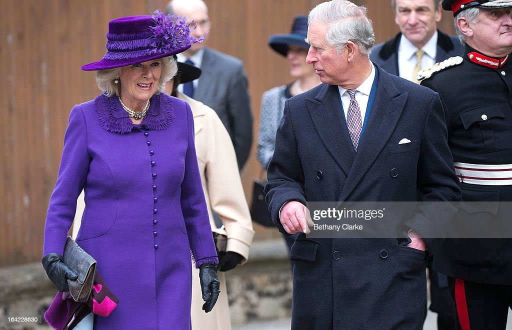 Prince Charles, Prince of Wales and Camilla, Duchess of Cornwall arrive for the enthronement of Justin Welby as Archbishop of Canterbury at Canterbury Cathedral on March 21, 2013 in Canterbury, England.The newly appointed Archbishop of Canterbury Justin Welby is enthroned today, installing him as the 105th Archbishop of Canterbury and head of the Church of England, in front of bishops and religious of the Anglican communion from around the world, the Prime Minister David Cameron, The Prince of Wales and other dignitaries.
