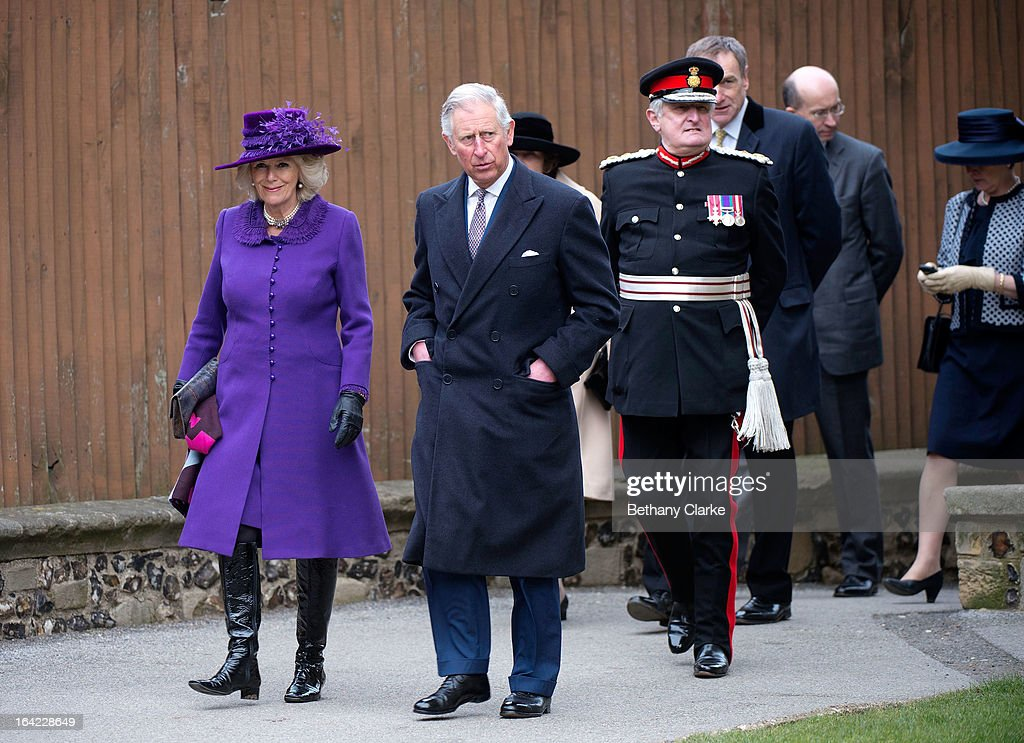 Prince Charles, Prince of Wales (C) and Camilla, Duchess of Cornwall (L) arrive for the enthronement of Justin Welby as Archbishop of Canterbury at Canterbury Cathedral on March 21, 2013 in Canterbury, England.The newly appointed Archbishop of Canterbury Justin Welby is enthroned today, installing him as the 105th Archbishop of Canterbury and head of the Church of England, in front of bishops and religious of the Anglican communion from around the world, the Prime Minister David Cameron, The Prince of Wales and other dignitaries.