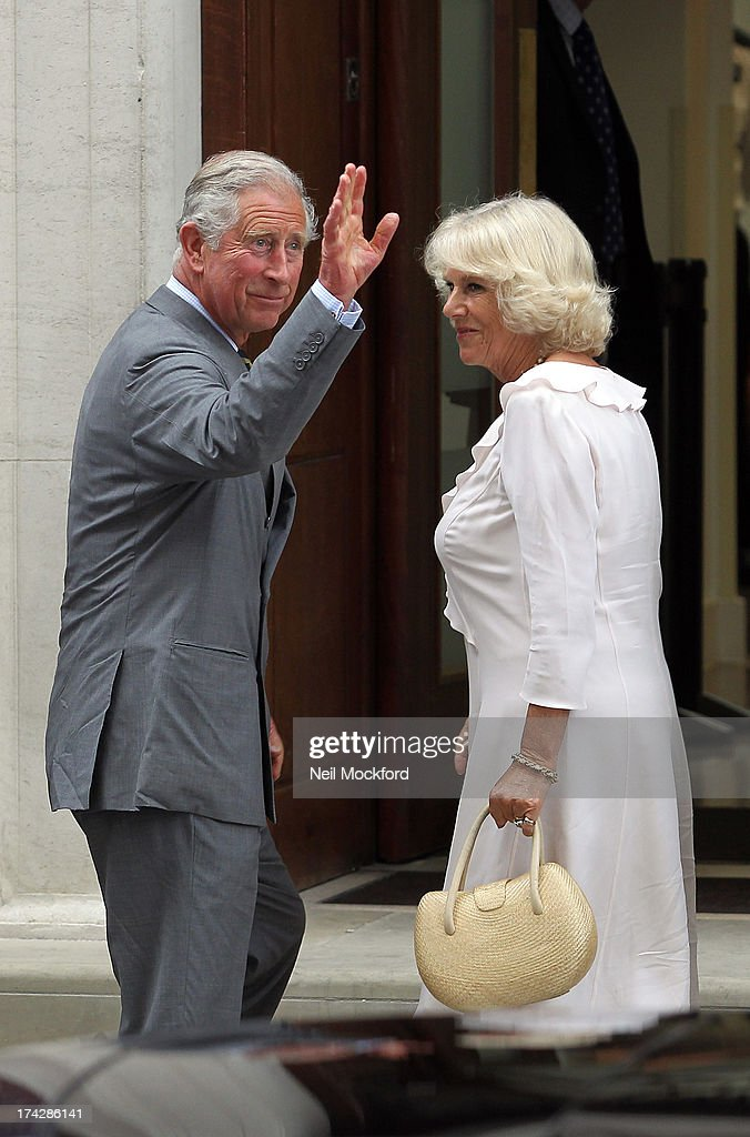 <a gi-track='captionPersonalityLinkClicked' href=/galleries/search?phrase=Prince+Charles&family=editorial&specificpeople=160180 ng-click='$event.stopPropagation()'>Prince Charles</a>, Prince of Wales and <a gi-track='captionPersonalityLinkClicked' href=/galleries/search?phrase=Camilla+-+Duchess+of+Cornwall&family=editorial&specificpeople=158157 ng-click='$event.stopPropagation()'>Camilla</a>, Duchess of Cornwall arrive to visit the Duke and Duchess Of Cambridge and their newborn son at the Lindo Wing, St Mary's Hospital on July 23, 2013 in London, England.