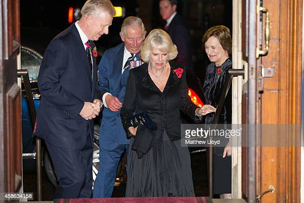 Prince Charles Prince of Wales and Camilla Duchess of Cornwall arrive at the Royal Albert Hall on November 8 2014 in London England Members of the...