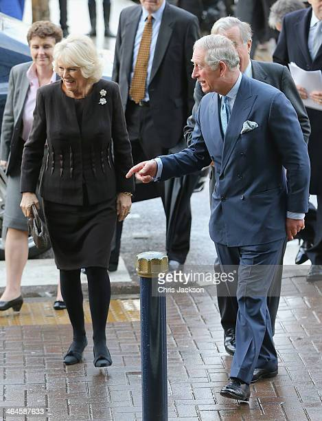 Prince Charles Prince of Wales and Camilla Duchess of Cornwall arrive for an official visit to King's College Hospital on January 23 2014 in London...
