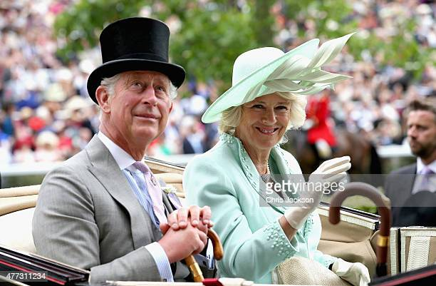 Prince Charles Prince of Wales and Camilla Duchess of Cornwall arrive in the royal carriage into the parade ring on day 1 of Royal Ascot at Ascot...