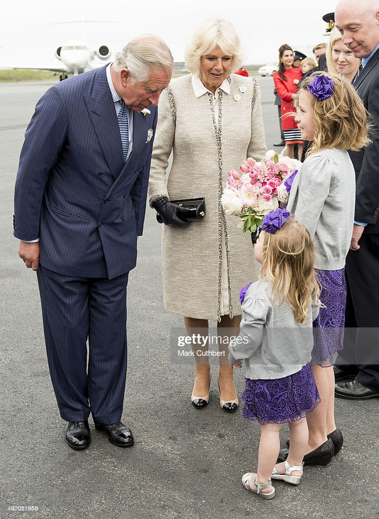 Prince Charles Prince of Wales and Camilla Duchess of Cornwall arrive at Halifax airport at the start of the Royal Tour on May 18 2014 in Halifax...