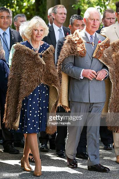 Prince Charles Prince of Wales and Camilla Duchess of Cornwall arrive dressed in Korowai during a visit to Turangawaewae Marae on November 8 2015 in...