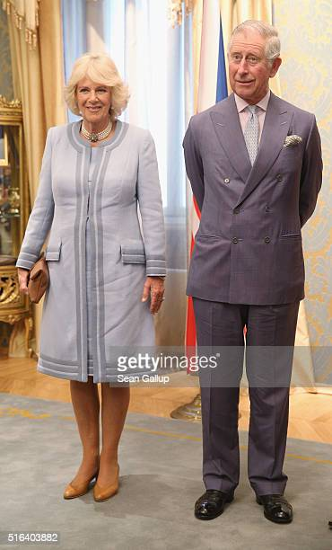 Prince Charles Prince of Wales and Camilla Duchess of Cornwall arrive at the Presidential Palace on March 18 2016 in Cetinje Montenegro The Prince...
