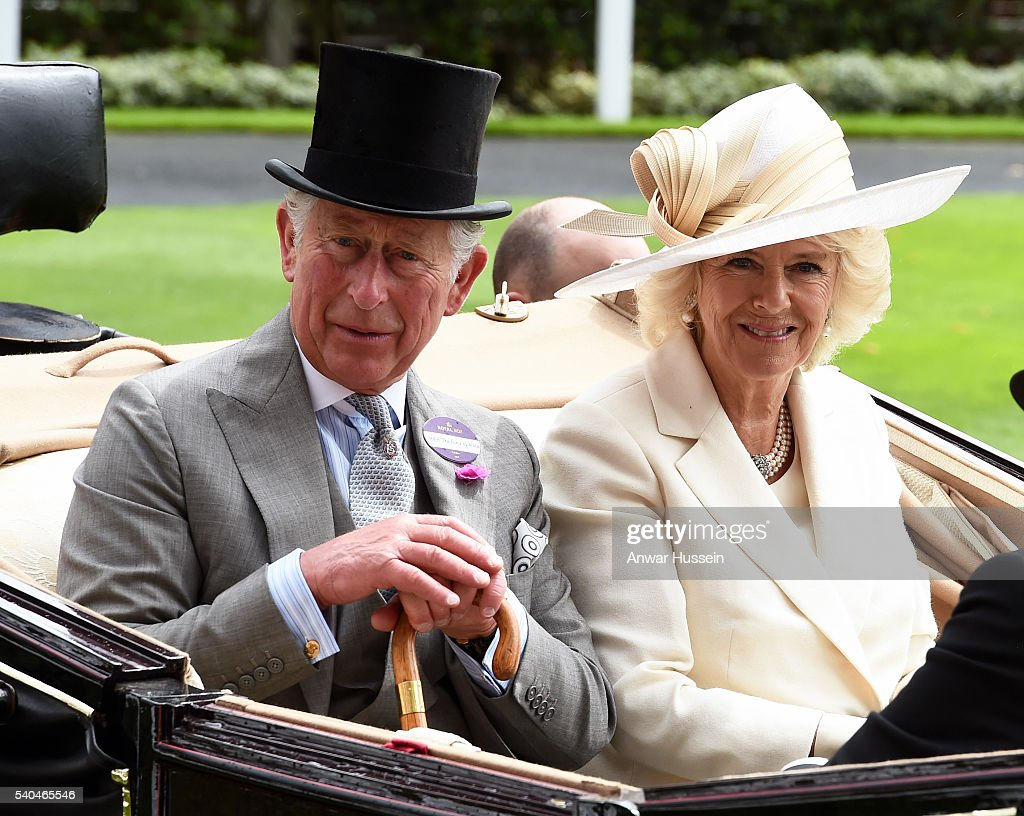 Prince Charles, Prince of Wales and Camilla, Duchess of Cornwall arrive in an open carriage to attend Day 2 of Royal Ascot on June 15, 2016 in Ascot, England.