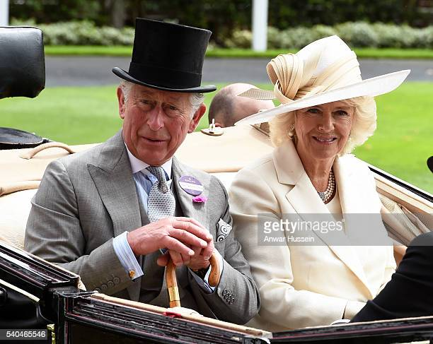 Prince Charles Prince of Wales and Camilla Duchess of Cornwall arrive in an open carriage to attend Day 2 of Royal Ascot on June 15 2016 in Ascot...