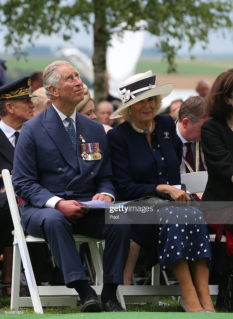 Prince Charles, Prince of Wales and Camilla, Duchess of Cornwall at the Ulster Memorial Tower during a service to mark the 100th anniversary of the start of the battle of the Somme on July 1, 2016 in Thiepval, France. The event is part of the Commemoration of the Centenary of the Battle of the Somme at the Commonwealth War Graves Commission Thiepval Memorial in Thiepval, France, where 70,000 British and Commonwealth soldiers with no known grave are commemorated.
