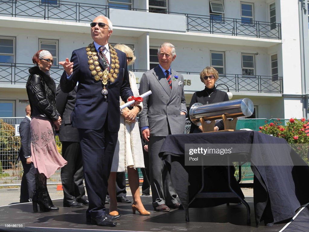 Prince Charles, Prince of Wales and Camilla, Duchess of Cornwall attend the Victoria Clock ceremony where the Prince's letter to the city after the 2010 earthquake was placed in a time capsule on November 16, 2012 in Christchurch, New Zealand.The Royal couple are in New Zealand on the last leg of a Diamond Jubilee that takes in Papua New Guinea, Australia and New Zealand.