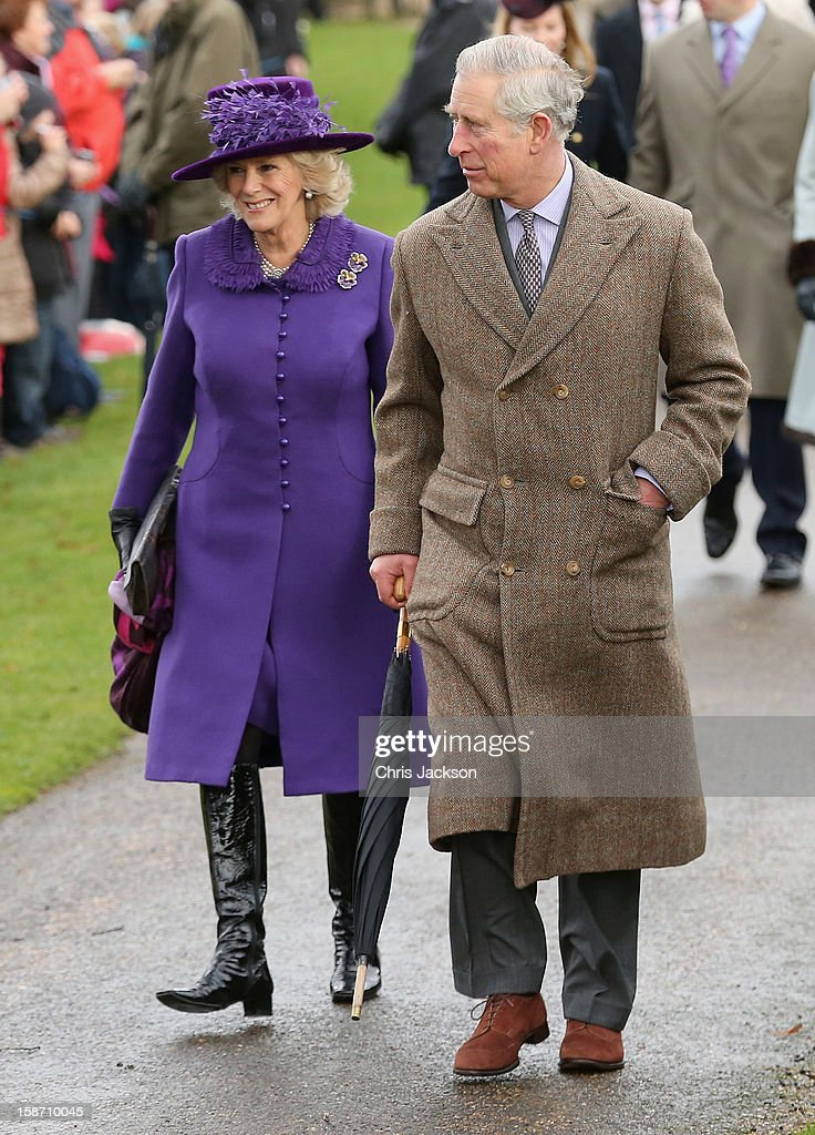 Prince Charles, Prince of Wales and Camilla, Duchess of Cornwall (L) attend the traditional Christmas Day church service at St Mary Magdalene Church, Sandringham on December 25, 2012 near King's Lynn, England.