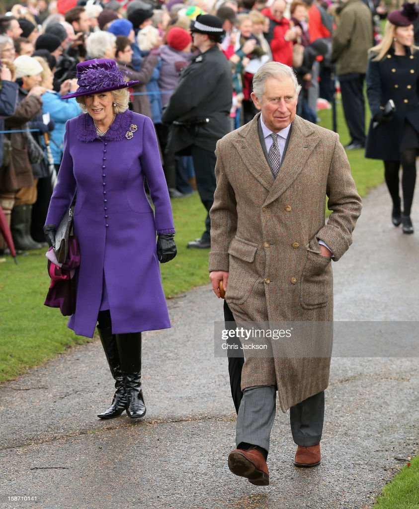 Prince Charles, Prince of Wales and Camilla, Duchess of Cornwall attend the traditional Christmas Day church service at St Mary Magdalene Church, Sandringham on December 25, 2012 near King's Lynn, England.