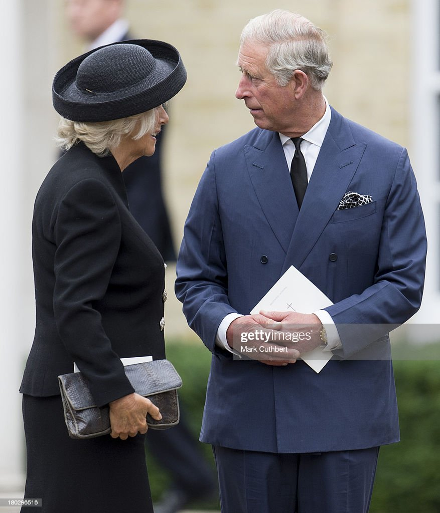 Prince Charles, Prince of Wales and Camilla, Duchess of Cornwall attend a requiem mass for Hugh van Cutsem who passed away on September 2nd 2013, at Brentwood Cathedral on September 11, 2013 in Brentwood, England.