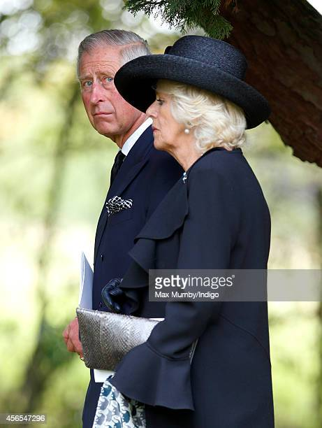 Prince Charles Prince of Wales and Camilla Duchess of Cornwall attend the funeral of Deborah Dowager Duchess of Devonshire at St Peter's Church...