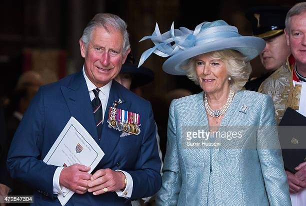Prince Charles Prince of Wales and Camilla Duchess of Cornwall attend a Service of Thanksgiving to mark the 70th anniversary of Victory in Europe at...