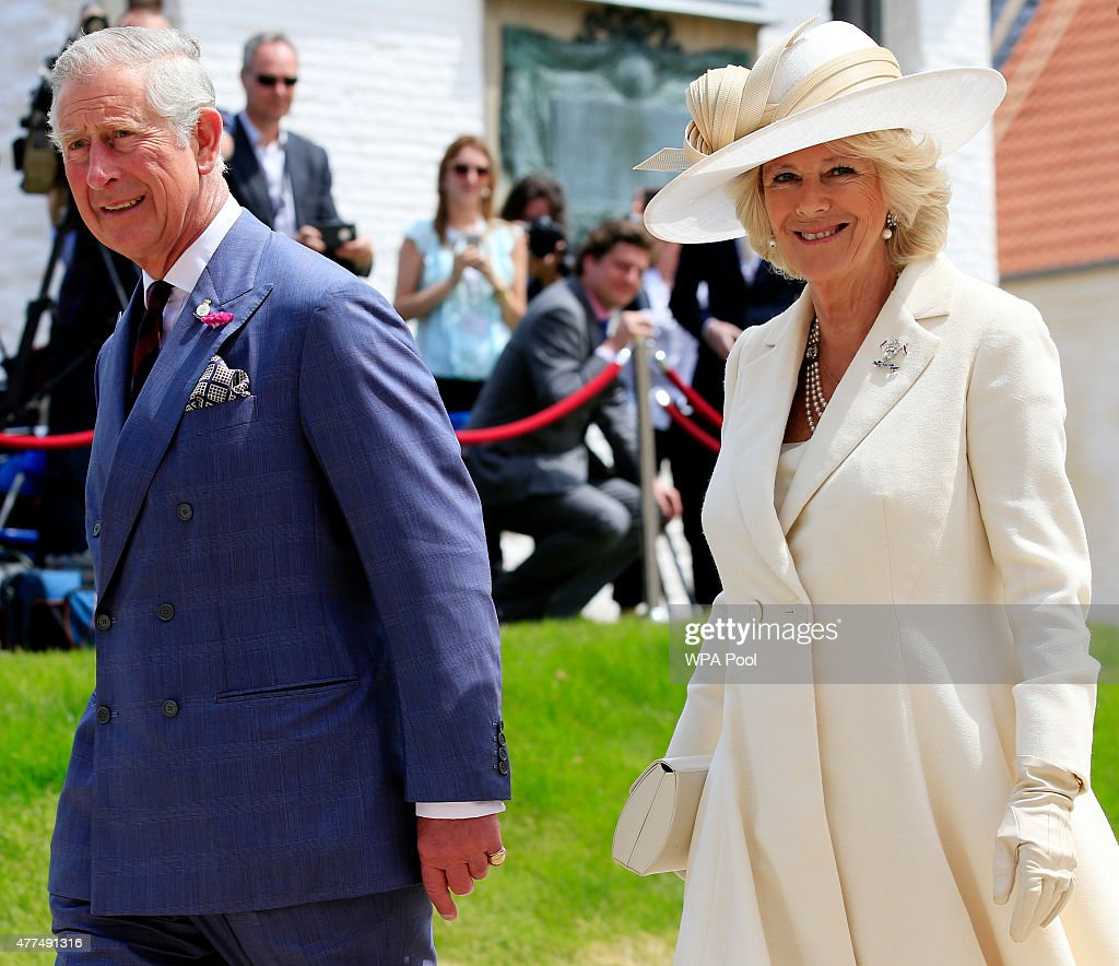 Prince Charles Prince of Wales and Camilla Duchess of Cornwall attend a ceremony held at Hougoumont Farm to mark the bicentenary of the battle on...