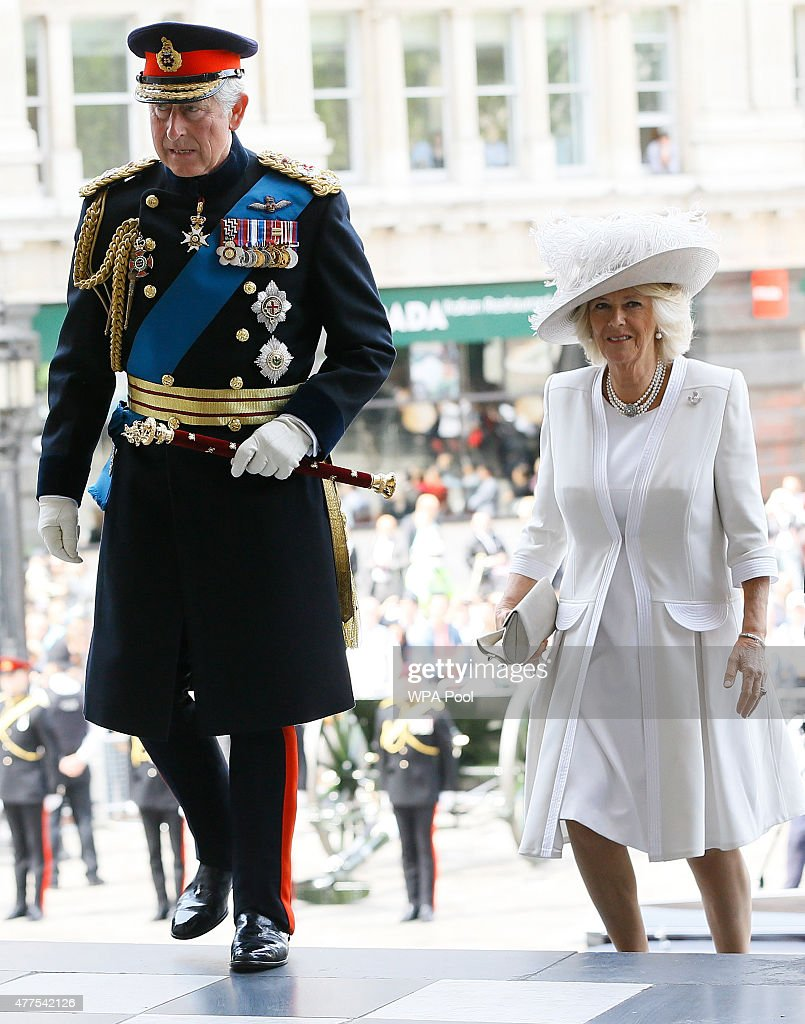 Prince Charles, Prince of Wales and Camilla, Duchess of Cornwall attend a commemoration service to mark the 200th Anniversary of the Battle of Waterloo, at St Paul's Cathedral on June 18, 2015 in London , England.