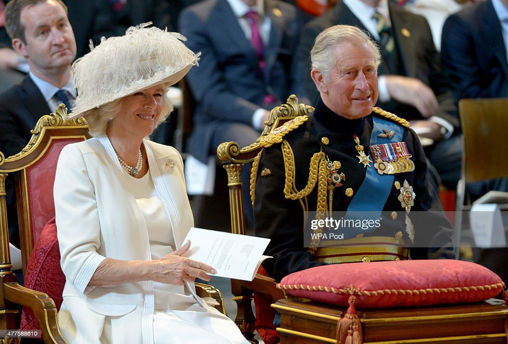 Prince Charles, Prince of Wales and Camilla, Duchess of Cornwall attend a commemoration service to mark the 200th Anniversary of the Battle of Waterloo, at St Paul's Cathedral on June 18, 2015 in London, England.