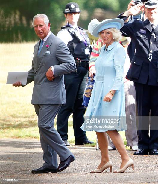 Prince Charles Prince of Wales and Camilla Duchess of Cornwall attend the christening of Princess Charlotte of Cambridge at the church of St Mary...