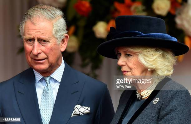 Prince Charles Prince of Wales and Camilla Duchess of Cornwall attend a ceremonial welcome for Irish President Michael D Higgins at Windsor Castle on...