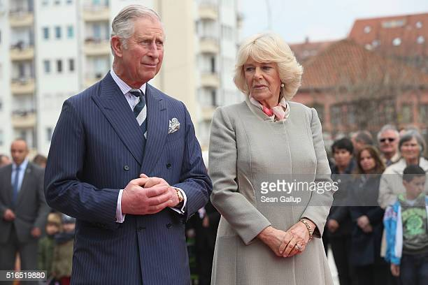 Prince Charles Prince of Wales and Camilla Duchess of Cornwall attend a ceremony at a memorial to people still missing from the 1999 Kosovo War on...