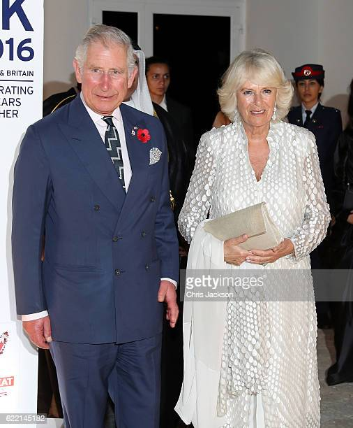 Prince Charles Prince of Wales and Camilla Duchess of Cornwall attend a reception at the British Embassy on November 10 2016 in Manama Bahrain The...