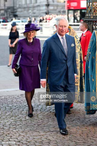 Prince Charles Prince of Wales and Camilla Duchess of Cornwall attend the annual Commonwealth Day service and reception during Commonwealth Day...